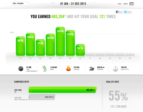 Nike Fuel Band - Yearly