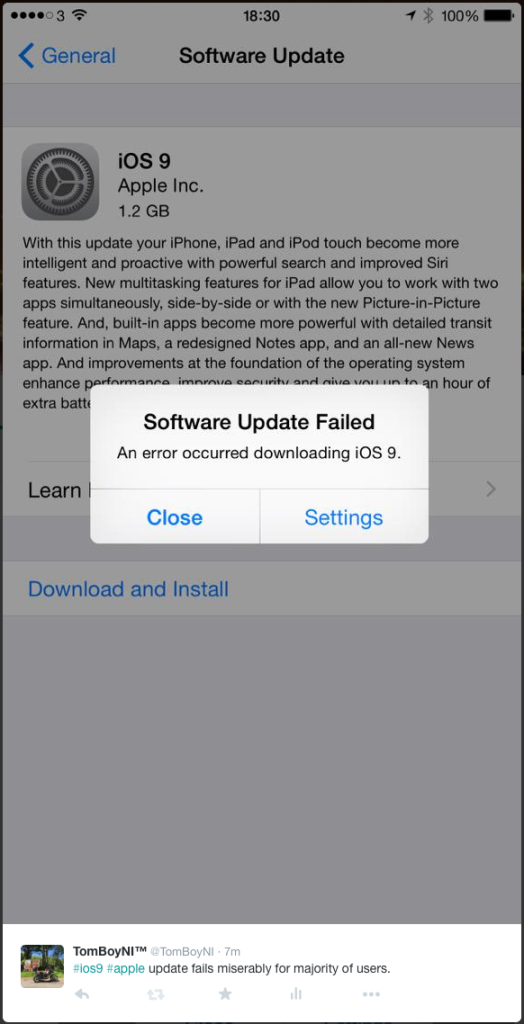 iOS9 Software Update Failed : An Error Occurred Downloading iOS 9.