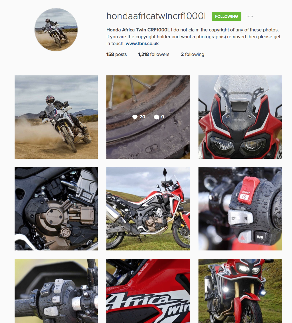 @hondaafricatwincrf1000l Instagram Page - Follow Me please
