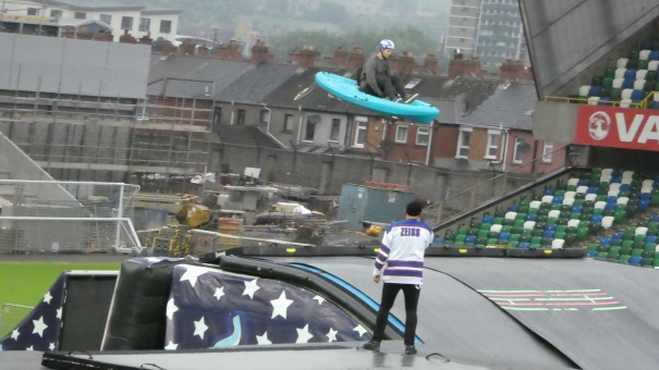 Nitro Circus, Windsor Park, Belfast 10th June 2016 - Yes indeed, that is a conoe and no it ain't going to land in water!