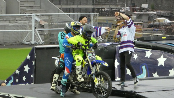 Nitro Circus, Windsor Park, Belfast 10th June 2016 - Three Guys, One Bike, One Backflip!