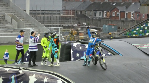 Nitro Circus, Windsor Park, Belfast 10th June 2016 - Three Guys, One Bike, One Backflip! Success!