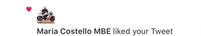 Maria Costello MBE   Likes Tweet