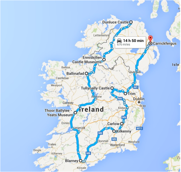 Castles in Ireland / Northern Ireland - The Route