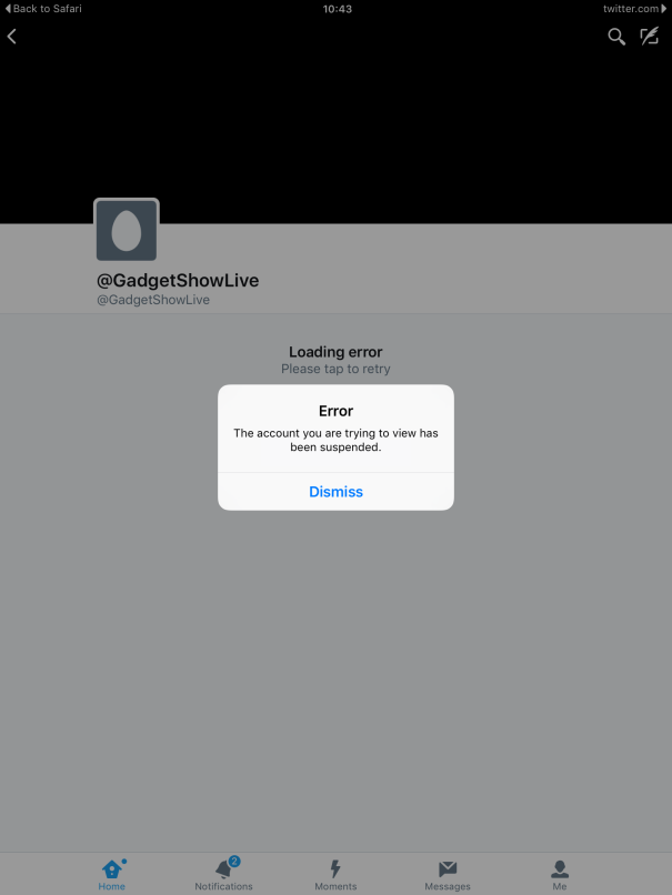 Gadget Show Live  Twitter Page Suspended (as of 10/09/2016)