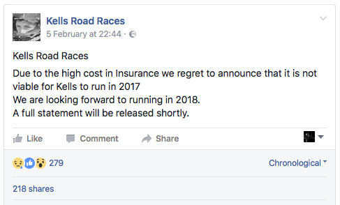 Kells Road Races Cancelled 2017