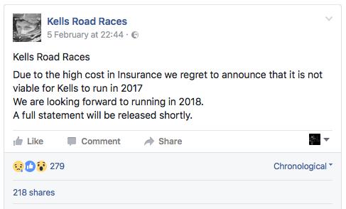 Kells Road Races Cancelled 2017