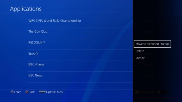 PS4 - Moving Games and Applications to Exended Storage