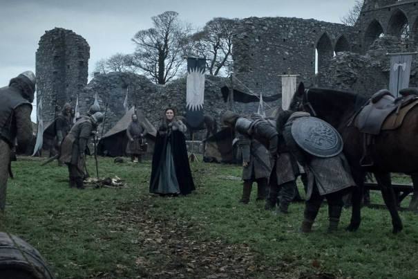 Northern Ireland Game of Thrones Filming Locations : Robb Stark's Camp : Inch Abbey : Image copyright of HBO, screencap from Screencapped.net