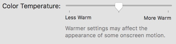 macOS 10.12.4 Night Shift Colour Temperature Options