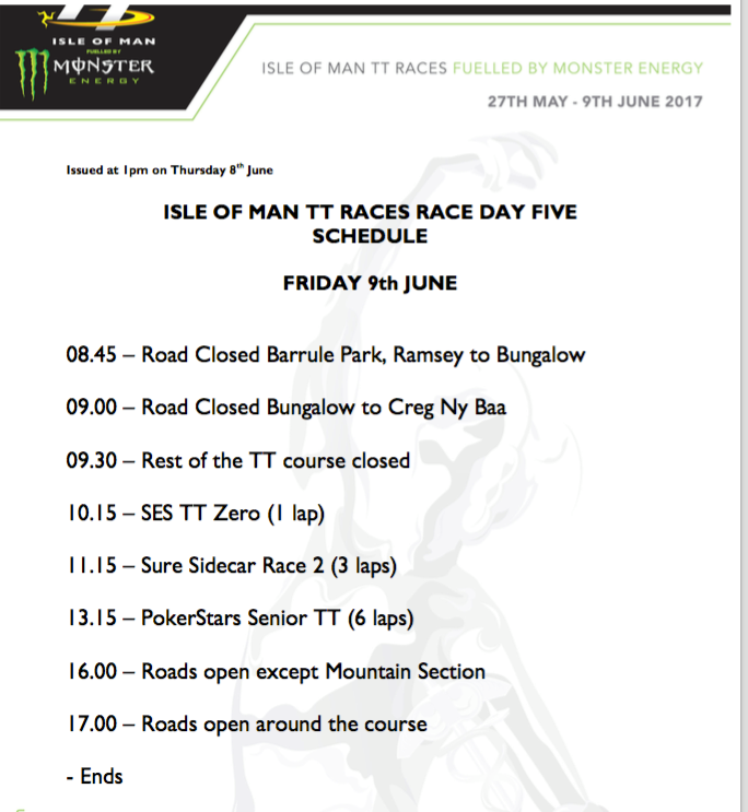 Isle of Man TT Races Schedule for 9th June 2017