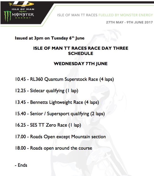 Isle of Man TT Races Schedule for 7th June 2017