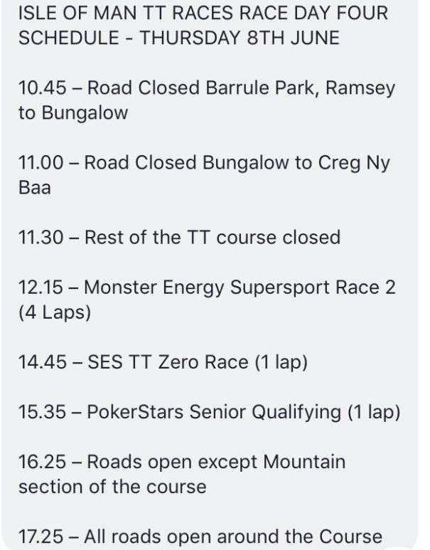 Isle of Man TT Races Schedule for 8th June 2017