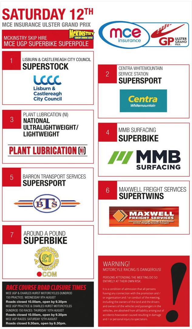 Ulster Grand Prix Race Schedule 2017