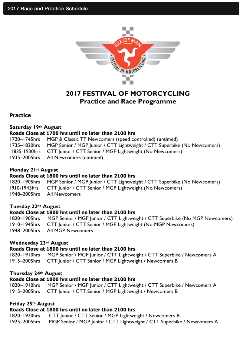 Isle of Man Festival of Motorcycling Practice and Race Programmw