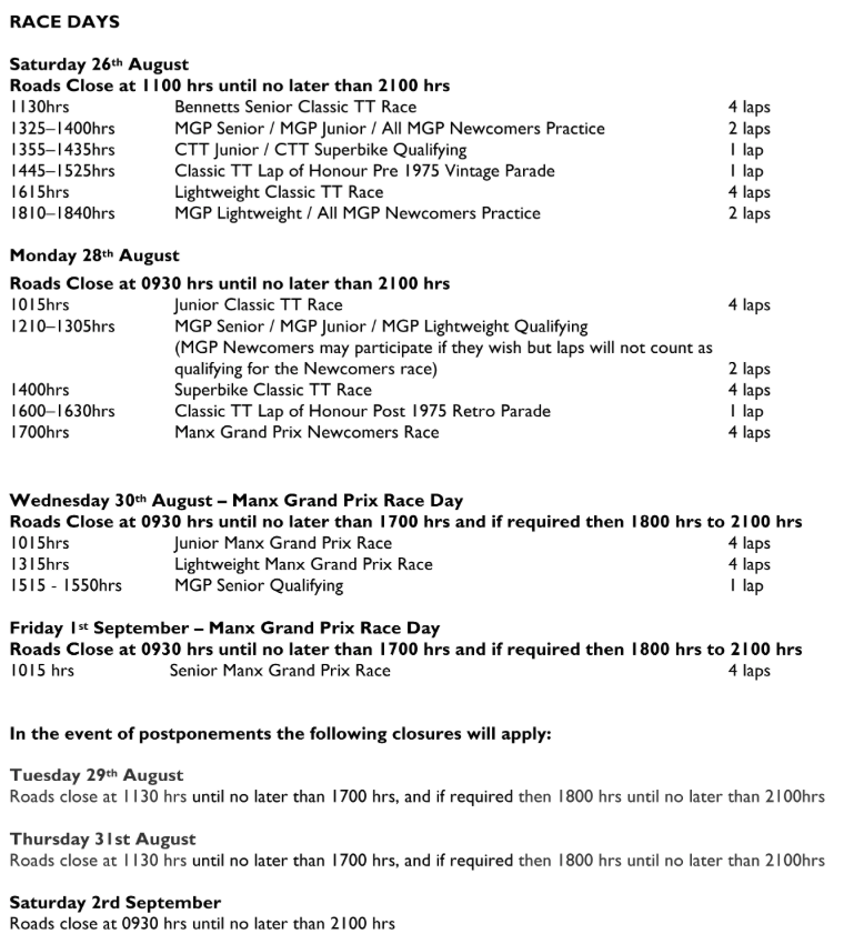 Isle of Man Festival of Motorcycling Practice and Race Programme Pg 7 : 12/08/2017